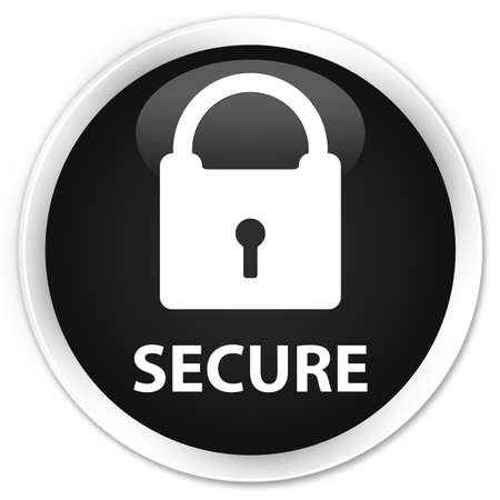 safeguarding: Secure (padlock icon) black glossy round button Stock Photo