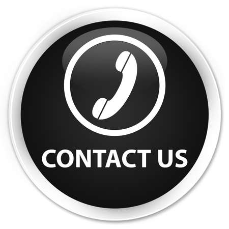 contact us phone: Contact us (phone icon round border) black glossy round button