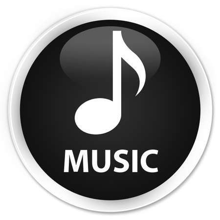tunes: Music black glossy round button