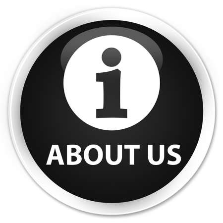 about us: About us black glossy round button