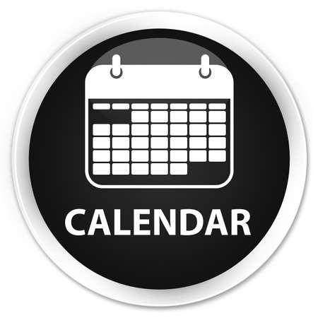 black: Calendar black glossy round button Stock Photo