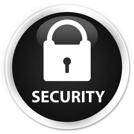 padlock icon: Security (padlock icon) black glossy round button
