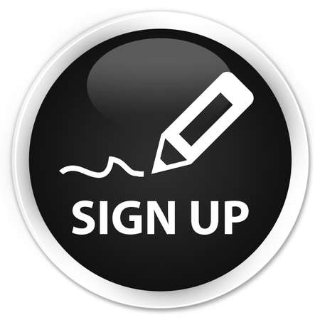 sign up: Sign up black glossy round button Stock Photo