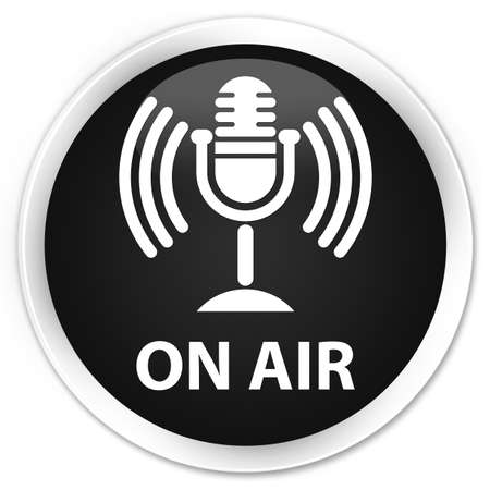 voices: On air (mic icon) black glossy round button Stock Photo