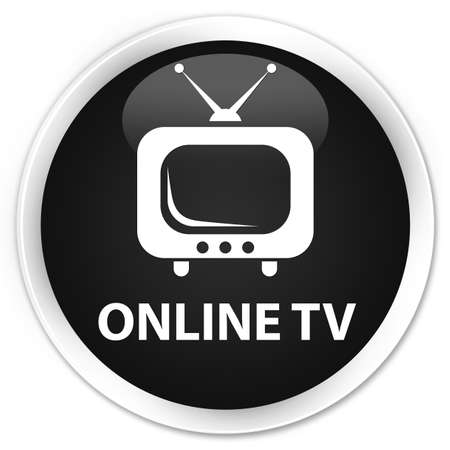 tv station: Online tv black glossy round button Stock Photo