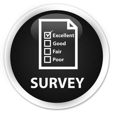 questionnaire: Survey (questionnaire icon) black glossy round button