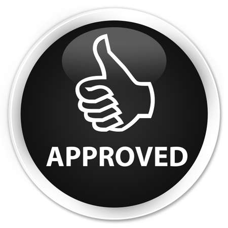 thumbs up: Approved (thumbs up icon) black glossy round button