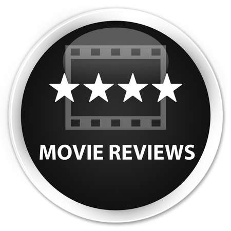 ratings: Movie reviews black glossy round button
