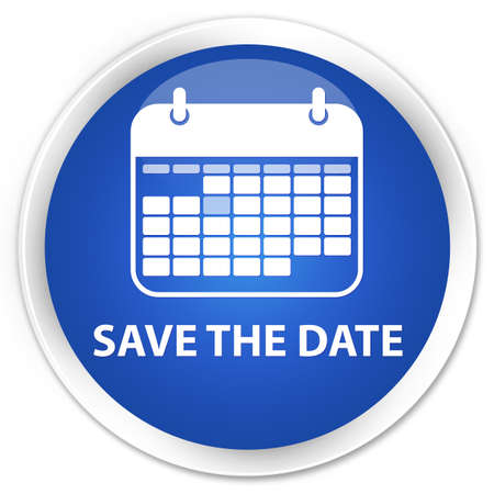 event planner: Save the date blue glossy round button