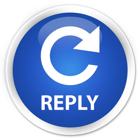reply: Reply (rotate arrow icon) blue glossy round button