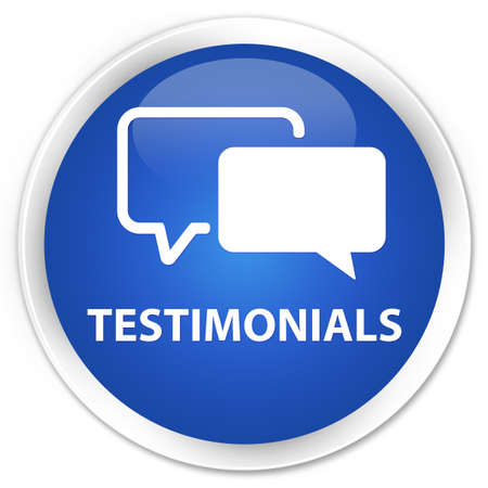 opinions: Testimonials blue glossy round button