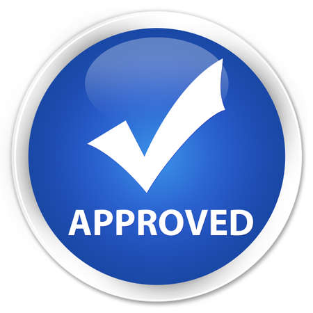 validation: Approved (validate icon) blue glossy round button