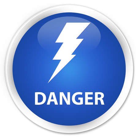 high voltage symbol: Danger (electricity icon) blue glossy round button