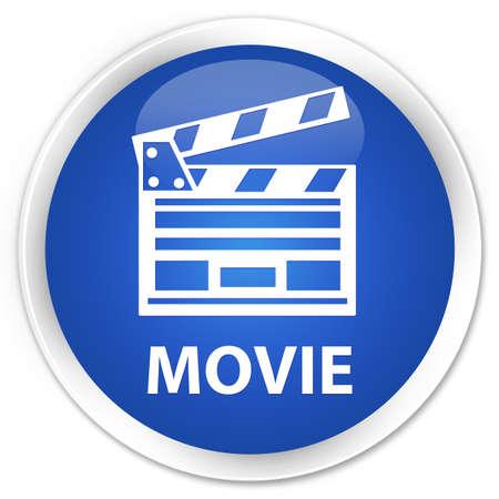 directors cut: Movie (cinema clip icon) blue glossy round button Stock Photo
