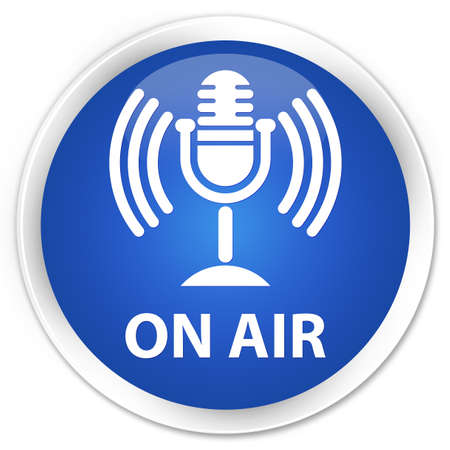 voices: On air (mic icon) blue glossy round button