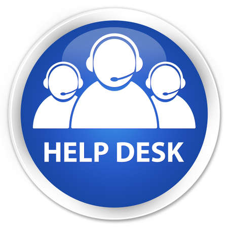 help desk: Help desk (customer care team icon) blue glossy round button
