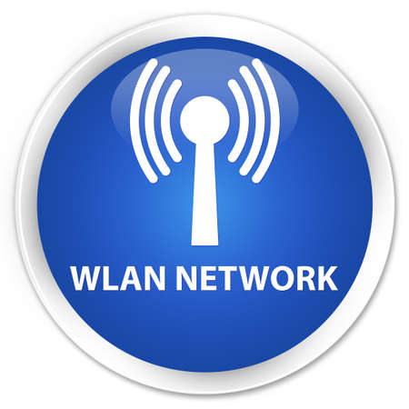 wlan: Wlan network blue glossy round button Stock Photo