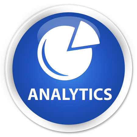 stat: Analytics (graph icon) blue glossy round button