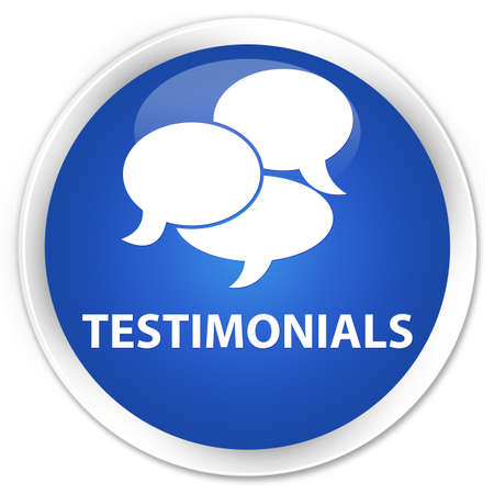 authenticate: Testimonials (comments icon) blue glossy round button