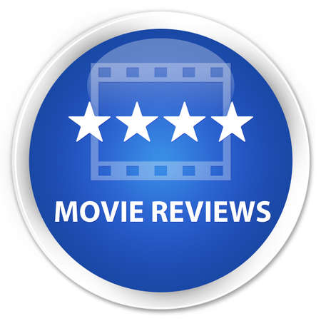 ratings: Movie reviews blue glossy round button