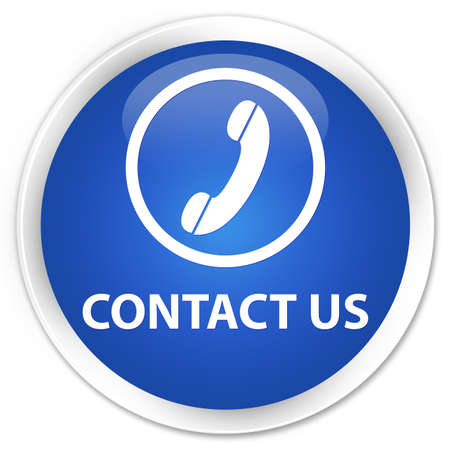contact us phone: Contact us (phone icon round border) blue glossy round button