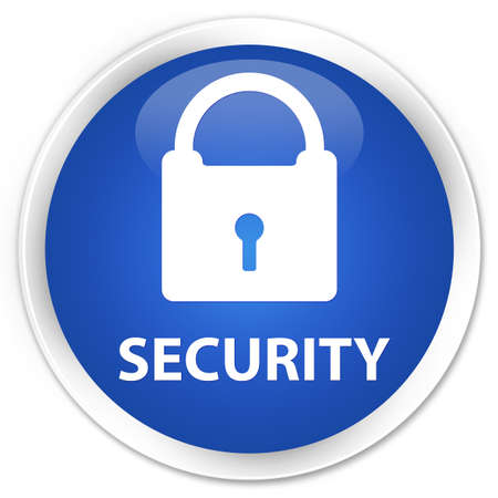 insecure: Security (padlock icon) blue glossy round button