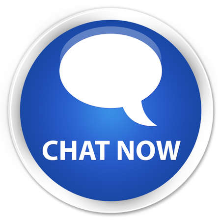 instant message: Chat now blue glossy round button Stock Photo