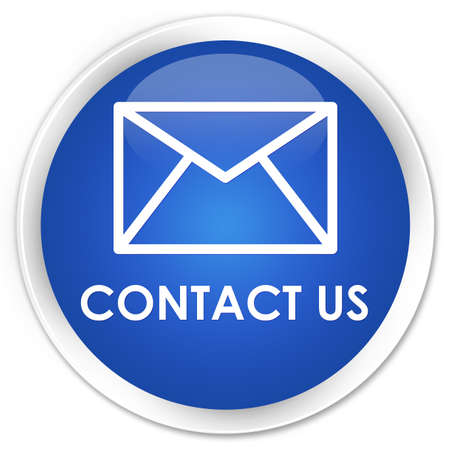 email contact: Contact us (email icon) blue glossy round button Stock Photo