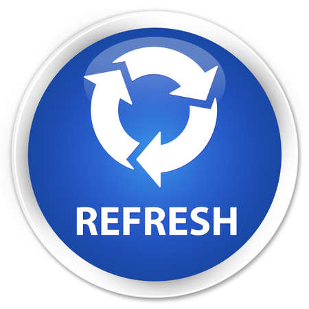refresh button: Refresh blue glossy round button Stock Photo