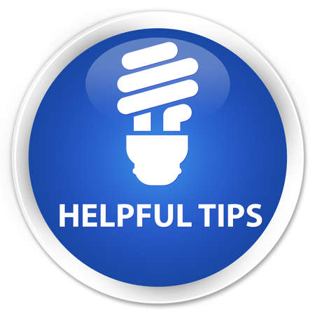 helpful: Helpful tips (bulb icon) blue glossy round button