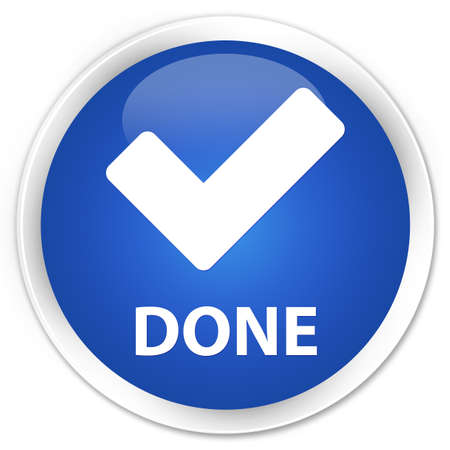 done: Done (validate icon) blue glossy round button