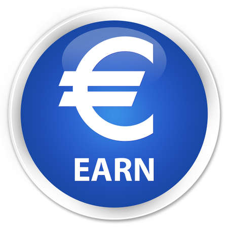 earn: Earn (euro sign) blue glossy round button