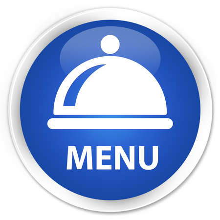 cater: Menu (food dish icon) blue glossy round button