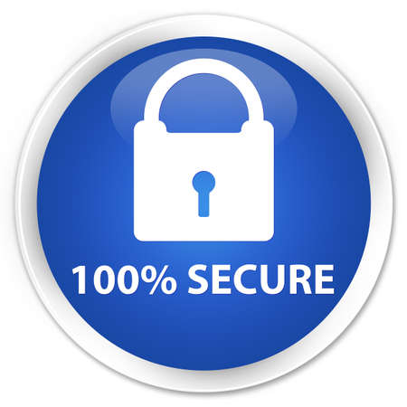 secure: 100% secure blue glossy round button