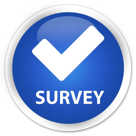validate: Survey (validate icon) blue glossy round button