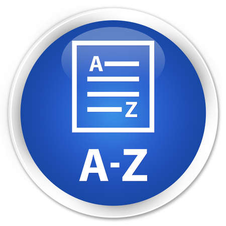 az: A-Z (list page icon) blue glossy round button Stock Photo
