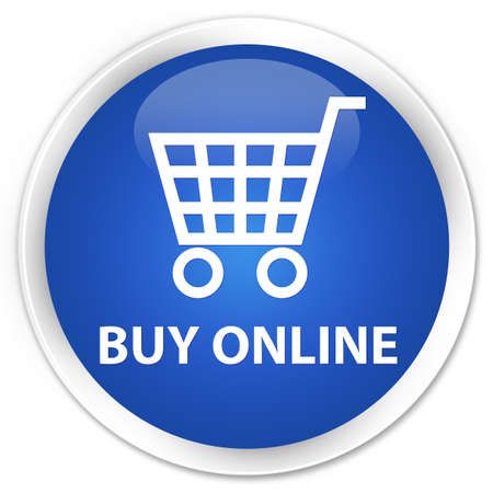 ecommerce icons: Buy online blue glossy round button