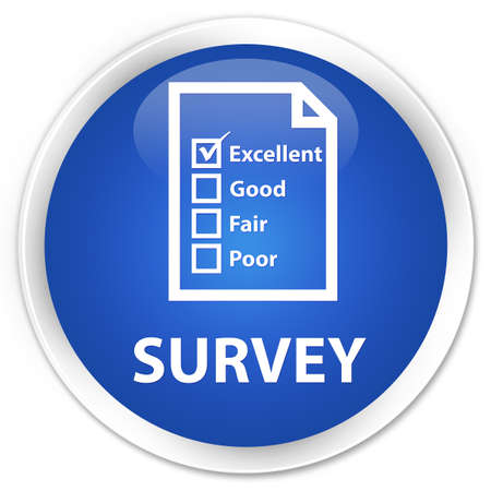 questionnaire: Survey (questionnaire icon) blue glossy round button Stock Photo