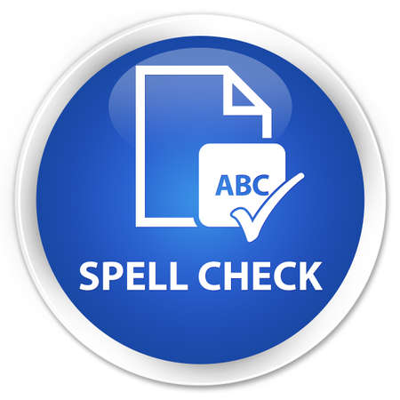 paper spell: Spell check document blue glossy round button Stock Photo