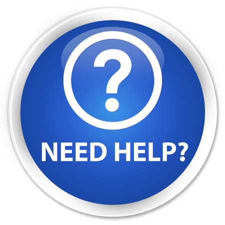 Need help (question icon) blue glossy round button Stock Photo