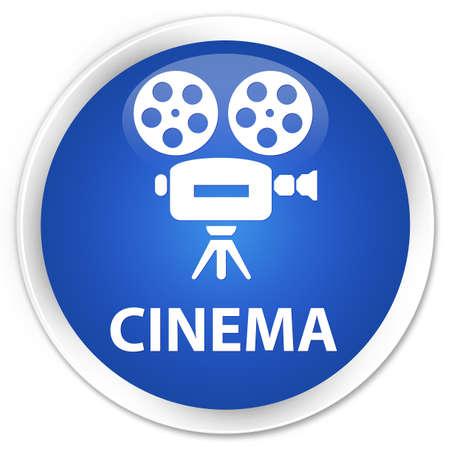 cinematographic: Cinema (video camera icon) blue glossy round button
