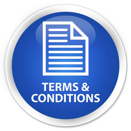 technology agreement: Terms and conditions (page icon) blue glossy round button