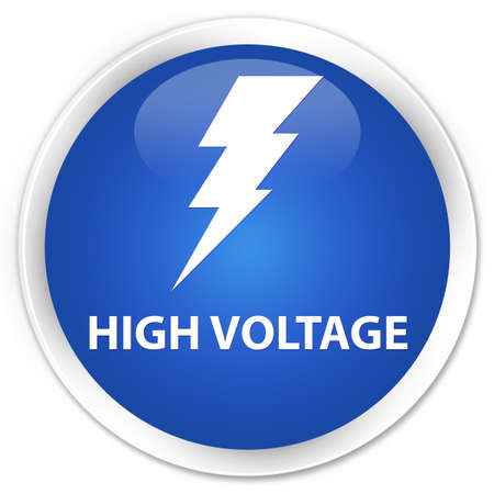 high voltage: High voltage (electricity icon) blue glossy round button