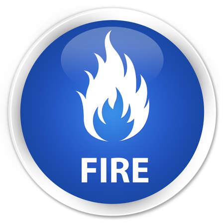 wildfire: Fire blue glossy round button