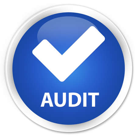 validate: Audit (validate icon) blue glossy round button