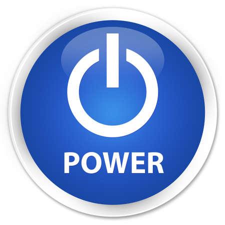 shut off: Power blue glossy round button Stock Photo
