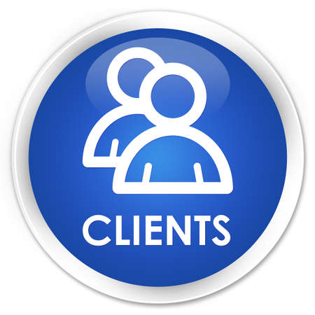 clientele: Clients (group icon) blue glossy round button