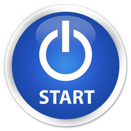 round: Start (power icon) blue glossy round button