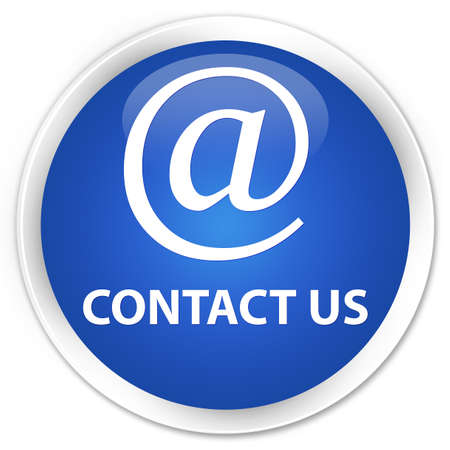 email contact: Contact us (email address icon) blue glossy round button