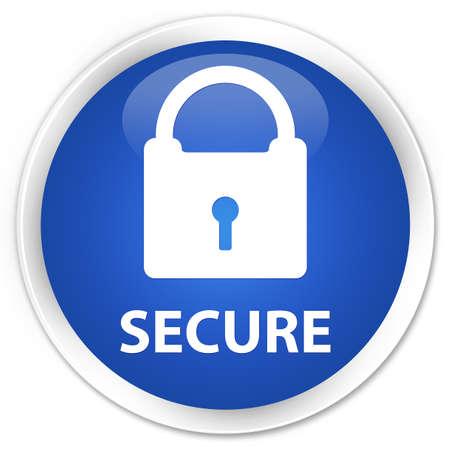 key hole shape: Secure (padlock icon) blue glossy round button